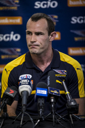 TWA-0073301 © WestPix West Coast Eagles Captain Shannon Hurn addresses the clubs poor performance at a press conference today. Picture: Michael Wilson The West Australian