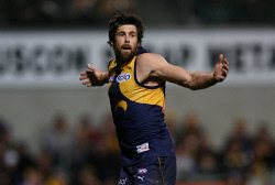 TWA-0073473 © WestPix AFL Round 21 - West Coast Eagles vs Carlton Blues at Subiaco Oval, Perth. Pictured -  Eagle Josh Kennedy celebrates a goal in the last term Picture: Daniel Wilkins