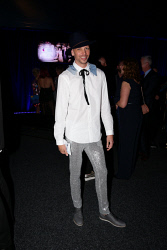 TWA-0076151 © WestPix TPFF: Future Runway at Crown Pyramid, Crown Perth on Thursday September 14th, 2017. Bryan Smith  Hat was DIY  Collar by House of Snowball  Shirt by Zara  Pants was from a vintage Boutique North Perth  Shoes by Windsor Smiths Clutch by Karmme  Picture: John Koh.
