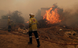 WAN-0000223 © WestPix Fire surrounds the Maes home in Gibbs Road. Pic Michael O'Brien - The West Australian - 3rd February 2014 -
