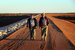 WAN-0000554 © WestPix Carnarvon Freeman, Bruce Teede (left) and grower, John Thomas happy to see the completion of the $60m levy banks to help protect their town and farms from flooding from the Gascoyne River.   13 June 2014  The West Australian  ***  ***