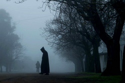 WAN-0004033 © WestPix A Benedectine monk heads for mass on a cold , foggy morning at New Norcia. The Victroia Plains district had a heavy fog with visability for some motorists down to a few metres.
