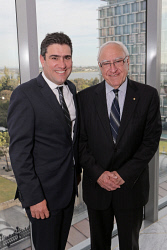 WAN-0018354 © WestPix UWA Business Leaders' Cocktail Party - Wildflower Restaurant (part of the refurbished Como The Treasury building)   Justin Michael and the Hon Ken Michael AC  Picture: Ben Crabtree The West Australian. 26/11/2015
