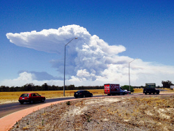 WAN-0020544 © WestPix Huge smoke plume from the Waroona bushfire. 7 January 2016. Photo: Sharon Smith.