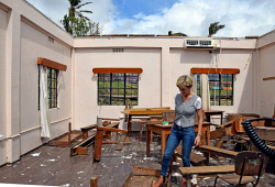 WAN-0025726 © WestPix Foreign Minister Julie Bishop inspecting a classroom destroyed by Cyclone Winston at Penang Sangam Primary School, Rakiraki, Fiji.  Pic by Andrew Tillett The West Australian