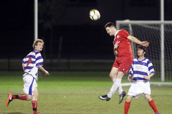 ALA-0002184 © WestPix Polonia's Cameron Spence gets his head on the ball. Picture: Laurie Benson Albany Advertiser
