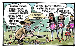 "DEA-0008264 © WestPix Dean Alston cartoon. NAIDOC. Bush Day Program. Russell Coight here, folks.... Today, we'll be cooking damper...... Damn..... Can't seem to get the fire going"". Four Aboriginal girls say ""Let us help you Russell..... We're the real experts! Let's do it together!"""
