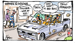 "DEA-0008305 © WestPix Dean Alston cartoon. Women in Mining. A dual cab ute filled with mining women dressed in FIFO gear cruises past guys walking along the footpath. The girls comment ""Phwoar...... Look at him!"" ""Tasty"". ""Woo woo...... Hi big boy!"" ""Hello gorgeous!"" The men are embarrased and blushing."