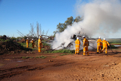 GGU-0006159 © WestPix The central blaze took around ten fire personnel and four hoses to bring under control. Plane crash exercise at the Geraldton Airport. Picture: Jon Solmundson The Geraldton Guardian