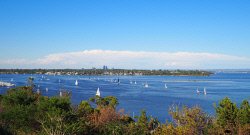 IMB-0006186 © WestPix View from Mosman Park Bay. You can see Perth in the background and Point Walter sand bar on the right. Picture: Rosaria Imbroglia