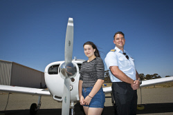 KGM-0027231 © WestPix Pilot Katie Basso, 16, and chief flying instructor James Lucas. (Picture: Louise White) 5th October 2016
