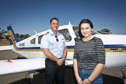 KGM-0027232 © WestPix Chief flying instructor James Lucas and pilot Katie Basso, 16. (Picture: Louise White) 5th October 2016