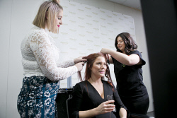 KGM-0034551 © WestPix Matilda Van Dycke gets her hair done by Mesmerised Salon owner Amber O'Grady, and Salon Manager Gemma Giles. Picture: Louise White.