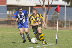 KGM-0035296 © WestPix Goldfields Soccer Association, Boulder City Soccer Club V Kalgoorlie College. Mens grand final.  Picture: Mary Meagher. Kalgoorlie Tom Wilcock and Boulder Paul Johnson.
