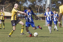 KGM-0035297 © WestPix Goldfields Soccer Association, Boulder City Soccer Club V Kalgoorlie College. Mens grand final.  Picture: Mary Meagher. Boulder Chris Forrest  and Kalgoorlie Luca Baldassarra.