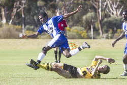 KGM-0035298 © WestPix Goldfields Soccer Association, Boulder City Soccer Club V Kalgoorlie College. Mens grand final.  Picture: Mary Meagher. Kalgoorlie Claud  Bilson and Boulder Kye Templar.
