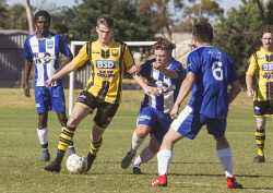 KGM-0035299 © WestPix Goldfields Soccer Association, Boulder City Soccer Club V Kalgoorlie College. Mens grand final.  Picture: Mary Meagher. Boulder Nick Duncan and Kalgoorlie Brock Reilly.