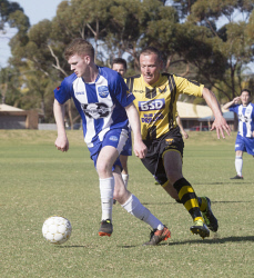 KGM-0035301 © WestPix Goldfields Soccer Association, Boulder City Soccer Club V Kalgoorlie College. Mens grand final.  Picture: Mary Meagher. Kalgoorlie David Quinn and Boulder Paul Johnson.