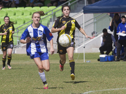 KGM-0035315 © WestPix Goldfields Soccer Association, Boulder City Soccer Club V Kalgoorlie College.  Ladies grand final.  Picture: Mary Meagher. Kalgoorlie Emily Thompson and Zoe Deroo Boulder.