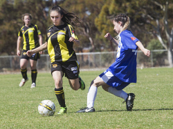 KGM-0035316 © WestPix Goldfields Soccer Association, Boulder City Soccer Club V Kalgoorlie College.  Ladies grand final.  Picture: Mary Meagher. Boulder Alicia Burt  and Kalgoorlie Brianna Ryan.