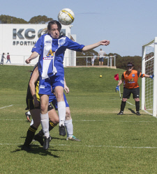 KGM-0035317 © WestPix Goldfields Soccer Association, Boulder City Soccer Club V Kalgoorlie College.  Ladies grand final.  Picture: Mary Meagher. Kalgoorlie Brianna Ryan.
