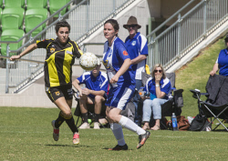 KGM-0035319 © WestPix Goldfields Soccer Association, Boulder City Soccer Club V Kalgoorlie College.  Ladies grand final.  Picture: Mary Meagher. Boulder Zoe Deroo and  Kalgoorlie Lesley Passmore.