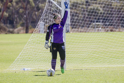 KGM-0035320 © WestPix Goldfields Soccer Association, Boulder City Soccer Club V Kalgoorlie College.  Ladies grand final.  Picture: Mary Meagher. Boulder goalie Tamera Sharp.