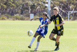 KGM-0035321 © WestPix Goldfields Soccer Association, Boulder City Soccer Club V Kalgoorlie College.  Ladies grand final.  Picture: Mary Meagher. Kalgoorlie Chynna O'Loughlin and Boulder Shannon King.