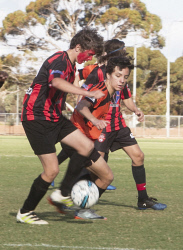 KGM-0035433 © WestPix Goldfields Soccer Association, South Red Strikers and North Scorchers. U 15s.  Picture: Mary Meagher. Strikers Riley Clothier and Scorchers Ethan Ringrose.