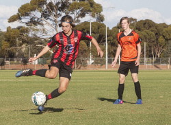 KGM-0035437 © WestPix Goldfields Soccer Association, South Red Strikers and North Scorchers. U 15s.  Picture: Mary Meagher. Strikers Lockie Smith and Scorchers Tomas Pack.