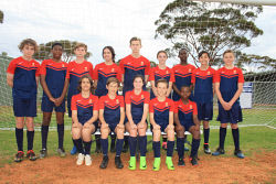 KGM-0035643 © WestPix Fifteen Goldfields Soccer Association junior players will represent WA Country at this year's Singa Cup and Phuket Youth Cup. They are (back left) Sam Gleeson, Calvin Mushangwe, Brock Keeley, Bree Bugeja, Kyle Lamprecht, Eva Campo, Sean Nzuwa, Billy Drew, Kristian Black, (front left) Zac Clarke, Tobie Fielding, Charlotte Raccanello, Riley Best and Arthur Nth