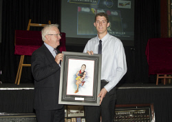 KGM-0036902 © WestPix Goldfields Sports Star of the Year and Sporting Hall of Fame.  Picture: Mary Meagher. Allan Pendal presenting Rising Star of the Year to Ben Miller.