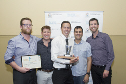 KGM-0036906 © WestPix Goldfields Sports Star of the Year and Sporting Hall of Fame.  Picture: Mary Meagher. Team of the Year Award went to North Kalgoorlie Wesley Hockey Club A1 Mens team, Daniel Lavery, David Segui, Nick Lavery, Brent Kail and Brad Daddow.