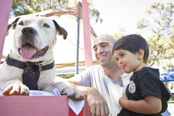 KGM-0036935 © WestPix Pets Day Out at Loopline Park, Jordan Downs with his son Sean Downs, 2, and dog Jake at the Kalgoorlie Dog Adoption's dog kissing booth. (Picture: Louise White) 19th November 2017