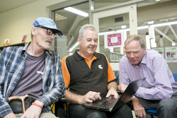 KGM-0037332 © WestPix NBN launch and seniors session at the William Grundt Memorial Library, Duncan Negev, Telstra Area General Manager Boyd Brown and City of Kalgoorlie-Boulder Mayor John Bowler.  (Picture: Louise White) 5th Decemebr 2017