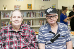 KGM-0037335 © WestPix NBN launch and seniors session at the William Grundt Memorial Library, Bruce Leask and Greg Fowler. (Picture: Louise White) 5th Decemebr 2017