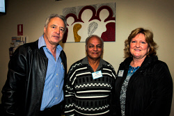 KGM-0040476 © WestPix John Matthew & Sons Director Peter Gianni with wife Sue Gianni and Indian Association of Goldfields WA President Raj Nathoo. Picture: Tori O'Connor