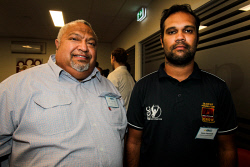 KGM-0040478 © WestPix Goldfields Mental Health Services Reigional Aboriginal Mental Health Coordinator Sid Carruth and Kalgoorlie Clontarf Academy Operations Henry Papertalk. Picture: Tori O'Connor