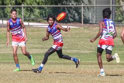 KGM-0040571 © WestPix GFL Round 5 - 16 and Under Saints v Kangas at Sir Richard Moore oval. Saints' players Mark Patea, Keenana Button and Kuvahn Sebastian. Picture: Kelsey Reid