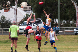 KGM-0040769 © WestPix GFL Juniors Annual Carnival Goldfields v Esperance at Sir Richard Moore Sports Centre Esperances Flynn Haliday and Goldfields Brock Croagn go up for centre bounce. Picture: Tori O'Connor