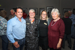 KGM-0040784 © WestPix Eastern Goldfields Historical Society president Scott Wilson, executive officer Lucia Pichler, digitisation project officer Claire Weir and volunteer Pamela Moore at the opening of the exhibition. Picture: Kelsey Reid