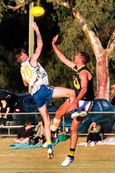 KGM-0041104 © WestPix WACFL New Holland State Country v Goldfileds Football League at Sir Richard Moore Sports Center Goldfield's Jayden Bootsma and WA Country's Jayden Brooks go up for centre bounce. Picture: Tori O'Connor