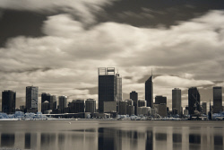 SMI-1400880 © WestPix Perth City as seen from South Perth foreshore. Photographed with a Canon 5DMkII and using a Hoya Infrared Filter. Picyure: Peta Smith