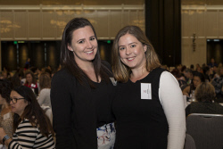 SUN-1401431 © WestPix Socials at the Business Chicks Breakfast with Magda Szubanski at Crown Ballroom in Burswood, Perth. (left to right) Courtney Blechynden, Kwai Steinohrt. 27 April 2017. Picture: Ross Swanborough.