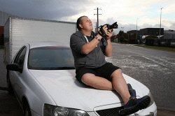 SUN-1403471 © WestPix Plane spotting has become a very popular hobby in the Perth area with people of all ages taking it up. Pictured is Neil Bees at Hyne Rd near Perth Airport. Picture - Justin Benson-Cooper. The Sunday Times