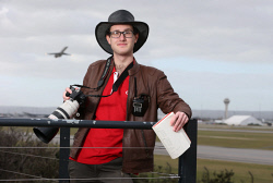 SUN-1403474 © WestPix Plane spotting has become a very popular hobby in the Perth area with people of all ages taking it up. Pictured is Nick Stubbs-Ross at the viewing platform at Perth Airport. Picture - Justin Benson-Cooper. The Sunday Times
