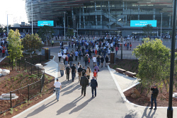 SUN-1403995 © WestPix The Sunday Times is getting a first look at public transport to the new Optus Stadium. Pictured - punters head down from the station. Picture - Justin Benson-Cooper/The Sunday Times