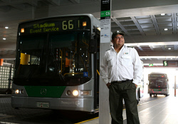SUN-1403999 © WestPix The Sunday Times is getting a first look at public transport to the new Optus Stadium. Pictured is bus driver Aman Sharma. Picture - Justin Benson-Cooper/The Sunday Times