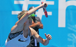 SUN-1404048 © WestPix Hopman Cup starts today. Images of players on the warm up courts. Pictured -  Eugenie Bouchard Picture: Daniel Wilkins