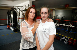 SUN-1404102 © WestPix Sharron Lindsay with her daughter Grace Lindsay at a Muay Thai gym. Sharron's daughter Jessica Lindsay died after shedding a dramatic amount of weight in preparation for a fight.  The combat sports industry is holding a forum to avoid deaths like Jessica's. Photo by Trevor Collens